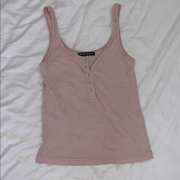 Brandy Melville Tops - Baby Pink Button Tank